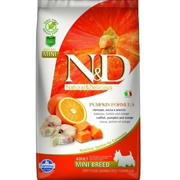 N&D GF Pumpkin DOG Adult Mini Codfish&Orange 7kg