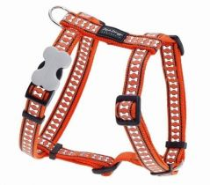 Postroj reflexní Red Dingo Bones 20mm x 45-66cm - oranžový
