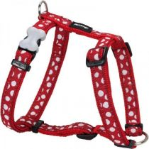 Postroj se vzorem Red Dingo 12mm x 30-44cm - White Spots on Red