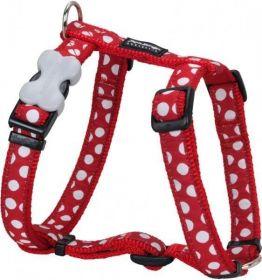Postroj se vzorem Red Dingo 15mm x 36-54cm - White Spots on Red