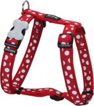 Postroj se vzorem Red Dingo 25mm x 56-80cm - White Spots on Red