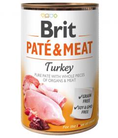 Brit Paté & Meat Turkey - konzerva pro psy 400g