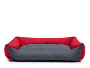 Pelíšek pro psa Economy - šedý s červenou