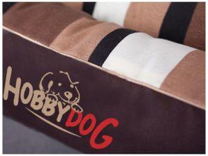 Pelíšek pro psa Ovál - hnědý s pruhy