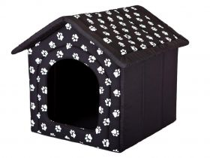 Pelíšek pro psa bouda - černá a packy
