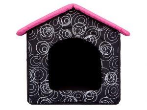 Pelíšek pro psa bouda - černá a růžová střecha