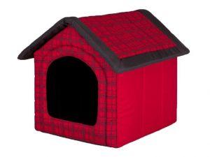 Pelíšek pro psa bouda - červená kostka