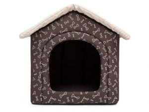 Pelíšek pro psa bouda - hnědá a kosti