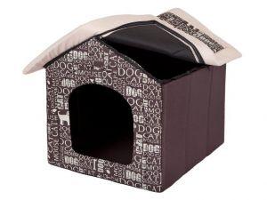 Pelíšek pro psa bouda - hnědá a nápisy