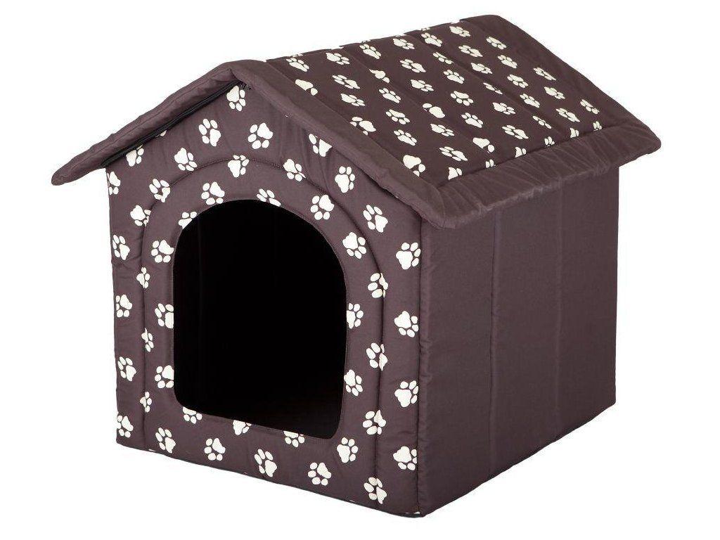 Pelíšek pro psa bouda - hnědá a packy