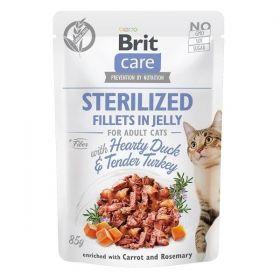 Brit Care Cat kapsička Fillets in Jelly Steril. Duck & Turkey 85 g