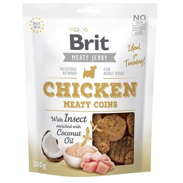 Brit pamlsky Jerky Chicken with Insect Meaty Coins 200g