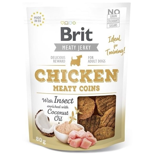 Brit pamlsky Jerky Chicken with Insect Meaty Coins 80g