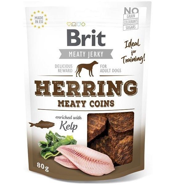 Brit pamlsky Jerky Herring Meaty Coins 80g