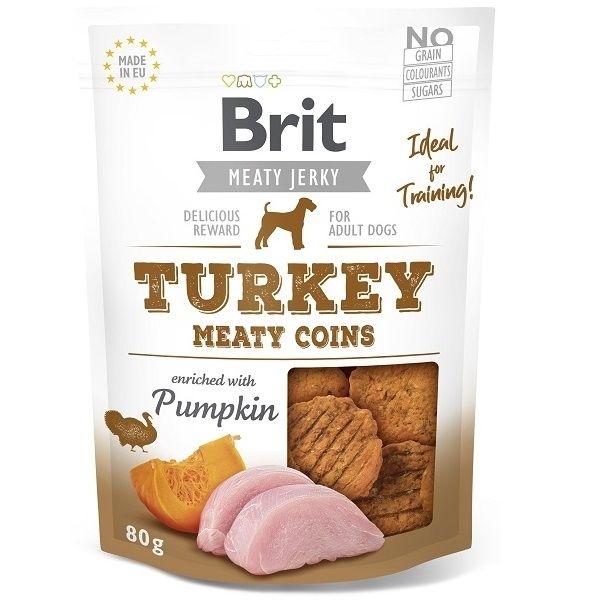 Brit pamlsky Jerky Turkey Meaty Coins 80g