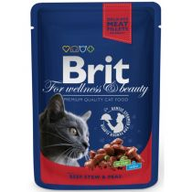 Brit Premium Cat kapsička hovězí & hrášek 100g