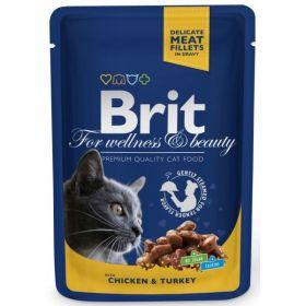 Brit Premium Cat kapsička kuře & krůta 100g