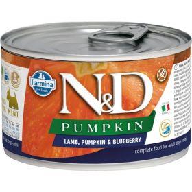 N&D PUMPKIN Dog konz. Adult Lamb & Blueberry Mini 140 g