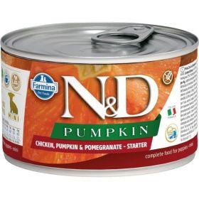 N&D PUMPKIN Dog konz. Starter Lamb & Blueberry Mini 140 g