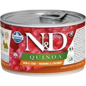 N&D QUINOA Dog konz. Herring & Coconut Mini 140 g