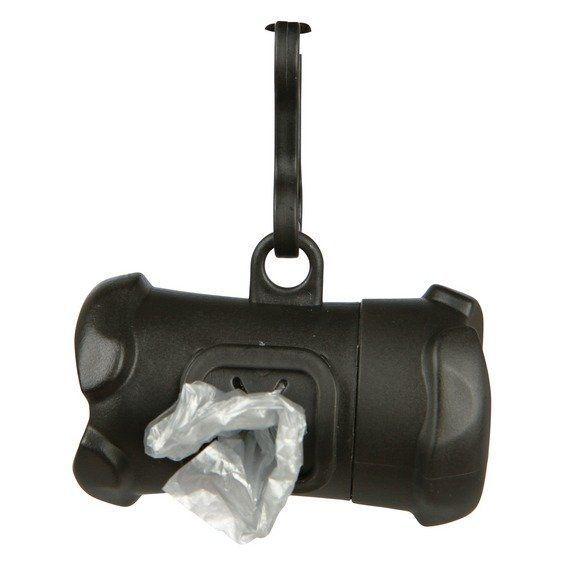 Plast. zásobník na sáčky na trus, tvar KOST černá,vč.1 role á 15ks Trixie