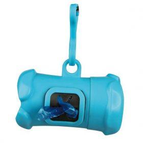 Plast. zásobník na sáčky na trus, tvar KOST modrá,vč.1 role á 15ks
