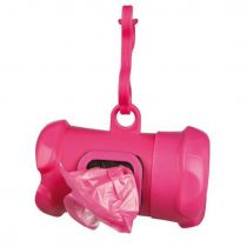 Plast. zásobník na sáčky na trus, tvar KOST růžová,vč.1 role á 15ks