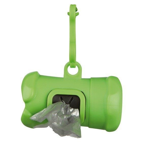 Plast. zásobník na sáčky na trus, tvar KOST zelená,vč.1 role á 15ks Trixie