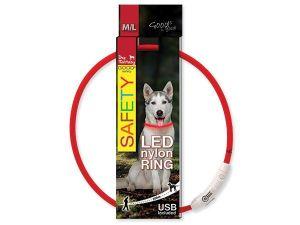 Obojek DOG FANTASY světelný USB červený 65 cm