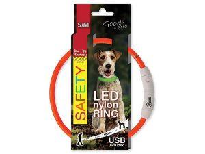 Obojek DOG FANTASY světelný USB oranžový 45 cm