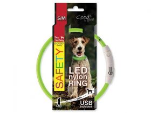 Obojek DOG FANTASY světelný USB zelený 45 cm