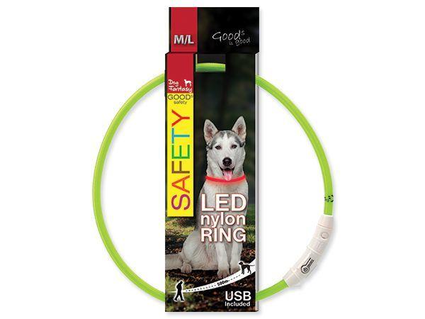 Obojek DOG FANTASY světelný USB zelený 65 cm