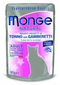 Monge Natural Cat tuňák krevety - kapsička 80g