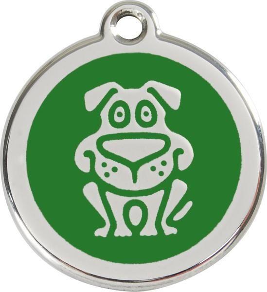 Známka RED DINGO velká s rytím 37mm - pes zelená
