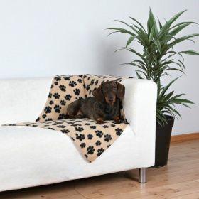 Deka pro psa 100x70cm fleece Béžová s černými tlapkami