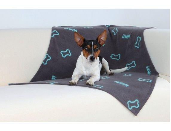 Deka pro psa 100x70cm fleece Šedá s modrými kostičkami Trixie