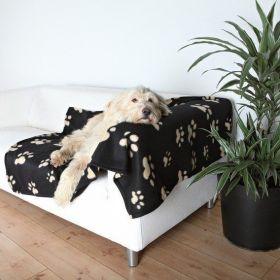 Deka pro psa 150x100cm fleece Černá s béžovými tlapkami