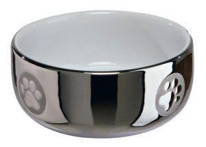 Keramická miska pro kočky s packami 0,3l/11cm stříbrno/bílá