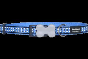 Obojek reflexní Red Dingo Bones 12 mm x 20-32 cm - modrá