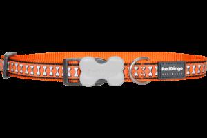Obojek reflexní Red Dingo Bones 12 mm x 20-32 cm - oranžová