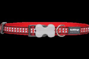 Obojek reflexní Red Dingo Bones 15 mm x 24-37 cm - červená