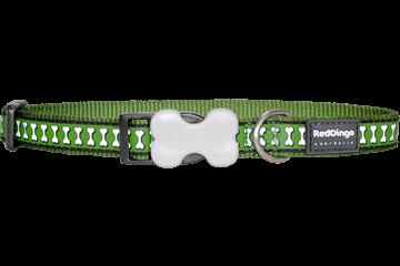 Obojek reflexní Red Dingo Bones 15 mm x 24-37 cm - zelená