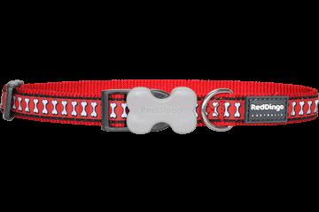 Obojek reflexní Red Dingo Bones 20 mm x 30-47 cm - červená