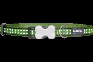 Obojek reflexní Red Dingo Bones 25 mm x 41-63 cm - zelená