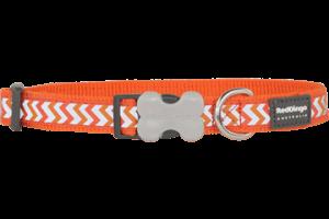 Obojek reflexní Red Dingo Ziggy 12 mm x 20-32 cm - oranžová