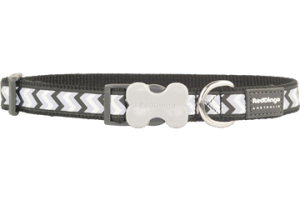 Obojek reflexní Red Dingo Ziggy 15 mm x 24-37 cm - černá