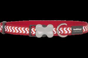 Obojek reflexní Red Dingo Ziggy 20 mm x 30-47 cm - červená
