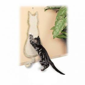 Béžové škrábadlo závěsné tvar kočka 35x69cm
