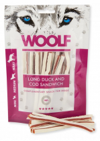 WOOLF POCHOUTKA SOFT DUCK AND COD SANDWICH LONG 100G